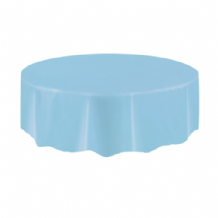 Powder Blue Table Cloth - Plastic Round Tablecover 1pc